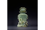 A SPINACH JADE CARVED 'DEER AND PLUM' VASE