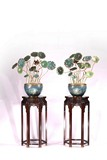 PAIR OF CHINESE CLOISONNE ENAMEL LOTUS BONSAI W/ WOOD STANDS