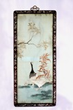 A CHINESE HARDWOOD FRAMED EMBROIDERED 'GEESE' PANEL