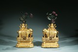PAIR OF CHINESE GILT-BRONZE 'ELEPHANTS AND VASES' ON STANDS