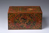 A CHINESE POLYCHROME RECTANGULAR WOOD BOX AND COVER