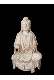 A LARGE MARBLE CARVED FIGURE OF GUANYIN
