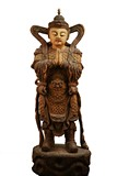 A VERY LARGE WOOD PAINTED STATUE OF GUARDIAN KING