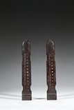 A PAIR OF ZITAN QIN-SHAPE INSCRIBED WRISTRESTS