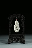 A WHITE JADE DOUBLE GOURD PENDANT WITH STAND