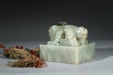 A LARGE WHITE JADE 'MYTHICAL BEAST' SQUARE SEAL