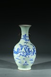 A CHINESE CELADON GLAZE BLUE AND WHITE 'FIGURES' VASE