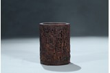 A BAMBOO CARVED 'HUNDRED BOYS' BRUSHPOT