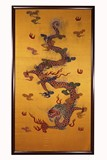 A CHINESE FRAMED YELLOW GROUND 'DRAGON' SILK EMBROIDERY