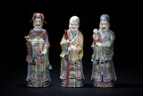 A SET OF ENAMELED FIGURES OF THE THREE STARS OF HAPPINESS