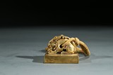 A GILT BRONZE 'MYTHICAL BEAST' SEAL