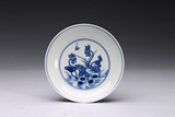 A BLUE AND WHITE 'EGRET' DISH