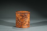A CHINESE BOXWOOD CARVED AND INSCRIBED BRUSHPOT
