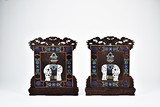 A PAIR OF CLOISONNE ENAMEL INLAID HONGMU 'ELEPHANT' TABLE SCREENS