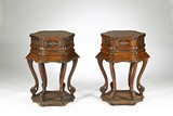 PAIR OF LACQUERED WOOD HEXAGON STANDS