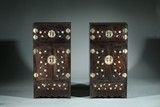 A PAIR OF CHINESE ZITAN SILVER INLAID CABINETS