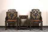 A PAIR OF GILT PAINTED BLACK LACQUER CHAIRS AND STAND