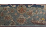 A THANGKA DEPICTING LUOHANS CROSSING THE SEA