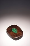 A HUANGHUALI JADEITE INLAID INKSTONE BOX AND COVER