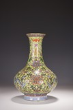A FAMILLE ROSE LIME-GREEN GROUND 'DRAGON AND LOTUS' VASE