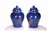 A PAIR OF CHINESE GILT PAINTED BLUE GROUND JARS