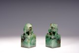 A PAIR OF JADEITE 'MYTHICAL BEASTS' SEALS
