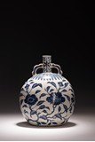 A BLUE AND WHITE 'FLOWERS' FLATTENED VASE