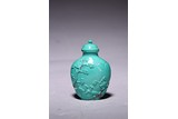 A CHINESE TURQUOISE 'LANDSCAPE' SNUFF BOTTLE