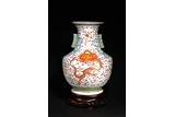 A LARGE CHINESE FAMILLE ROSE 'FIVE DRAGON' VASE