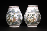 A PAIR OF LARGE CHINESE 'LANDSCAPE' HU VASES